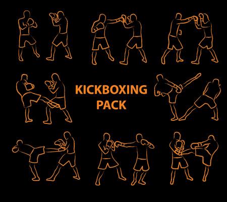 Zwei Kickboxkämpfer kämpfen im Cartoon-Stil Vektorgrafik
