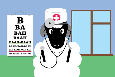 Sheep in a doctor uniform making medical examination and treatment flat design cartoon animation.  イラスト・ベクター素材