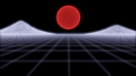 Retro Futurism wire frame Background 3d render