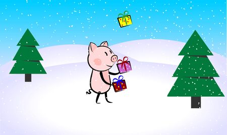 funny pig character juggling with presents in a winter forest 向量圖像
