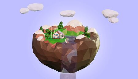 Eco low poly island floating in the sky 3d render 写真素材