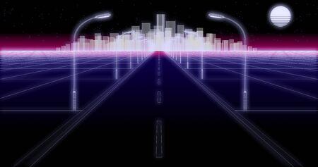 night city road 80 Retro Background 3d render Standard-Bild