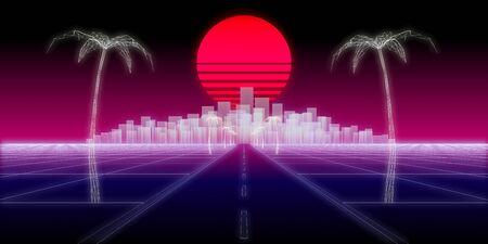 neon city palms road 80 Retro Background 3d render