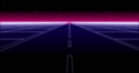 synthwave road and stars Retro Background 3d render
