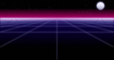 synthwave net and moon Retro Background 3d render