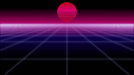 synthwave net and sun Retro Background 3d render