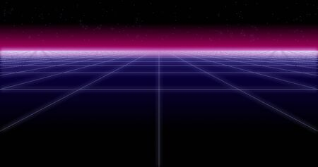synthwave net and stars Retro Background 3d render 写真素材