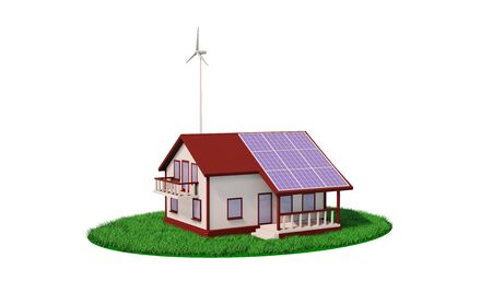 Eco house wind turbine and solar panel 3d render Standard-Bild