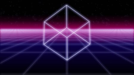 synthwave cube shape on a wireframe net and stars 80s Retro Futurism Background 3d illustration render