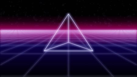 synthwave pyramid on a wireframe net and stars 80s Retro Futurism Background 3d illustration render