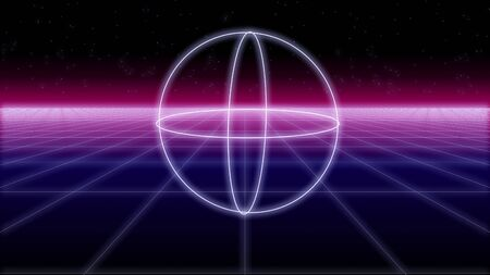 synthwave shapes on a wireframe net and stars 80s Retro Futurism Background 3d illustration render seamless loop