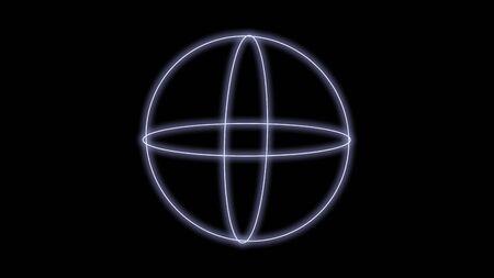 synthwave sphere shape 80s Retro Futurism black Background style 3d illustration render
