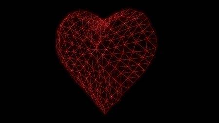 Heart Glowing neon Synthwave glitch 3d render Standard-Bild