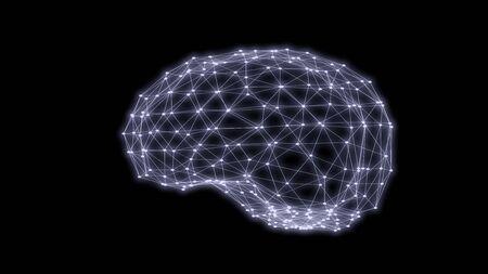 Human brain triangles grid scan 3D rendering