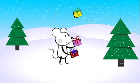 Mouse rat juggling new years gifts presents boxes