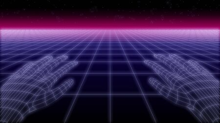 synthwave net and hands Retro Background 3d render 写真素材