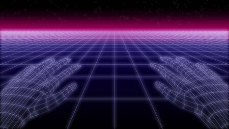 synthwave net and hands Retro Background 3d render Standard-Bild