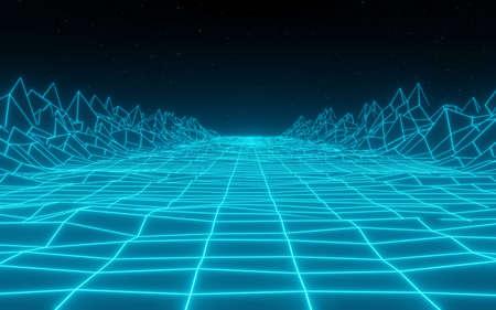 synthwave retro peaks Retro Background 3d render