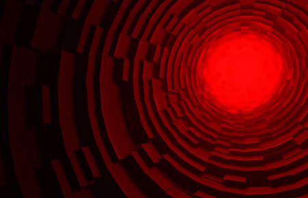Red Sci-Fi Architecture Background Circular Building 3d Rendering circles pattern