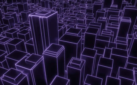 synthwave abstract city downtown background 3d render