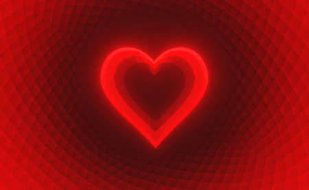 Heart glowing on red