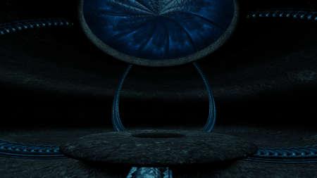 Fantasy Sci-fi alien cave 3d render illustration Archivio Fotografico