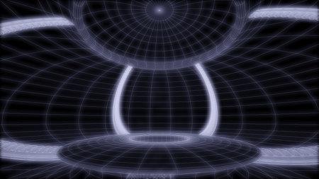 Sci-fi synthwave alien cave 3d render illustration