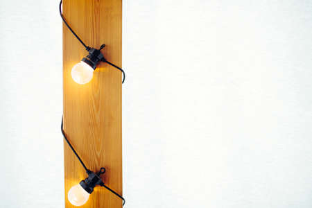 Light bulb on wooden background. Space for your text.