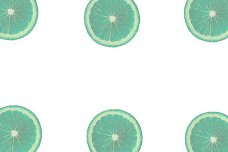 Bleached coral fruit pattern of fresh orange or lemon slices on on the edges of white isolated background. Top view. Copy space.