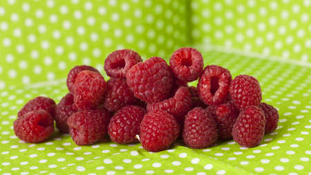 raspberry in green polka dot background photo