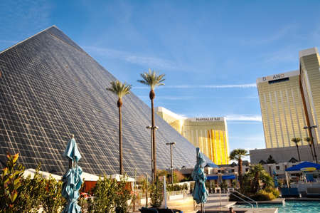 LAS VEGAS - JANUARY 21, 2016: Luxor Las Vegas the Mandalay Bay Resort and Casino and the Delano on January 21, 2016 in Las Vegas. Luxor opened in 1993, Delano opened in 2003 and Mandalay Bay opened in 1999.