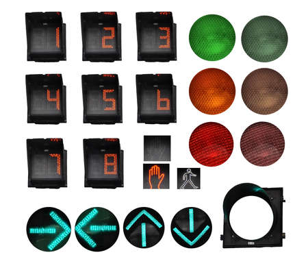 Separated circulation Lights ; red, orange and red. Numbers from 1 to 8. Red Hand for a stop. Green arrows up, down, left, right. Empty Contour.