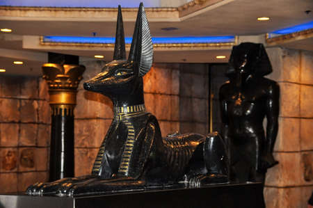 LAS VEGAS, NEVADA - JANUARY, 2016: Anubis dog statue at the entrance of the Luxor hotel and casino Editorial
