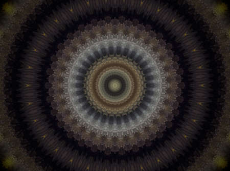 Mandala made of extruded small squares in round circles. Colors white and brown. Violet and pale green. Some yellow and few blue Reklamní fotografie