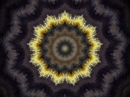 psychic: Mandala made of extruded small squares in round circles and shaped like star. Colors white and yellow. Violet and black. Some orange. Stock Photo