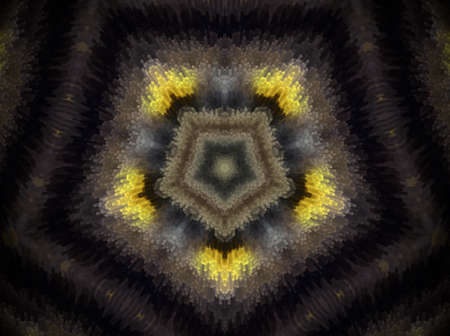 Mandala made of extruded small squares in pentagon shape. Colors white and yellow. Violet and black. Some blue and pale green.