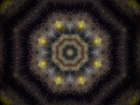Mandala made of extruded small squares in octagon shape. Colors white and yellow. Violet and black. Some blue and pale green. Stock Photo
