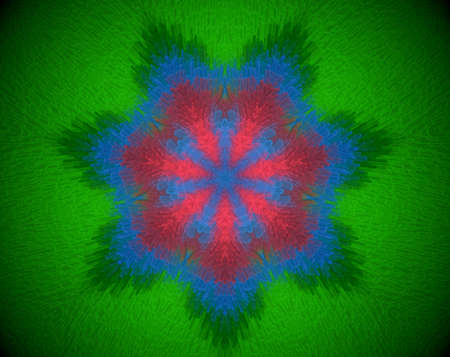 psychic: Extruded mandala abstract in snow crystal shape. Colors blue, green and Red. Stock Photo