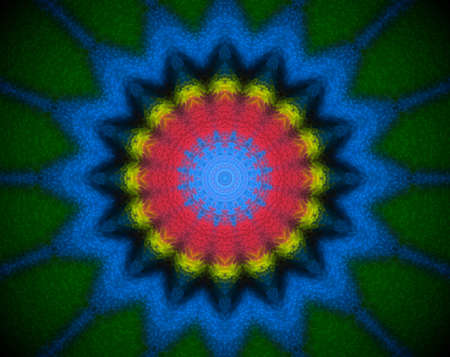 Extruded mandala abstract in circle shape. Colors blue and green. Red and yellow.