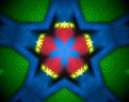 psychic: Extruded mandala abstract in star shape. Colors blue and green. Red and yellow. Stock Photo