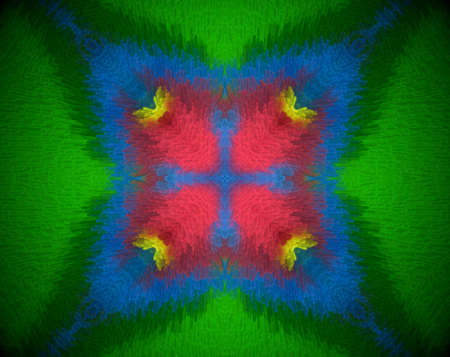 Extruded mandala abstract in square shape. Colors blue and green. Red and yellow.
