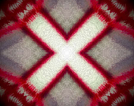 psychic: Extruded small squares mandala in a shape of X or cross with 4 sides. Colors red, white and violet. Stock Photo