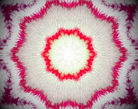 psychic: Extruded small squares mandala in a shape of decagon with 10 sides. Colors red, white, pink and violet.