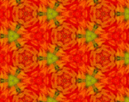 Extruded small square shapes forming abstract green, yellow and red pattern with triangle and kaleidoscope shapes. Stock Photo