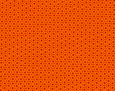 Red and orange patter with star inside honeycombs. The inside stars have circle over their middle. Triangles serves as intersections of the honeycomb corners. Stock Photo