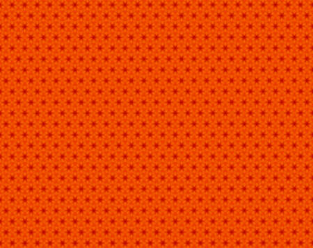 Variation of red and orange hexagons attached by rhombus kaleidoscope pattern with small triangles inside them. From far, it looks like hexagons within hexagons shapes like honeycombs.
