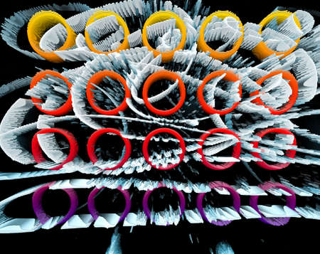 intertwined: Black and white. Orange and red. Pink and violet. Extruded triangle pattern. Abstract gradient circles shapes.