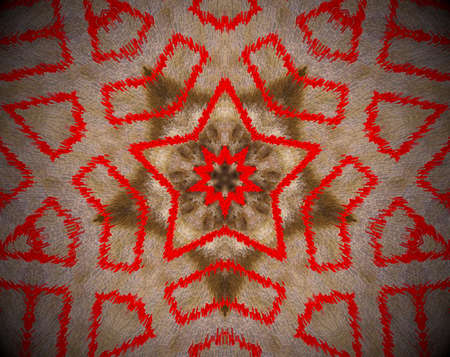 Brown and red. Extruded mandala. Multiple abstract shapes. Five sided star.