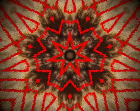 Brown and red. Extruded mandala. Abstract shape. Seven sided star. Stock Photo