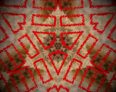 Brown and red. Extruded mandala. Abstract shape. Rectangles and triangles.